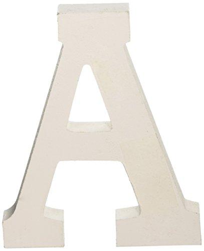 Darice U9182-A White Wood Letter A, 6