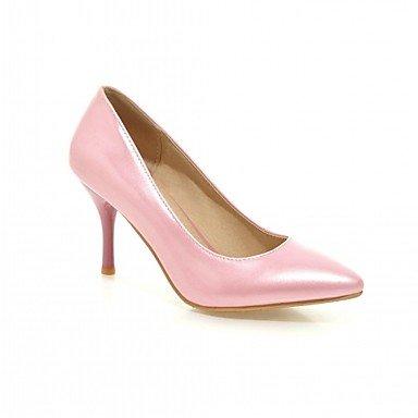 Talones de las mujeres de cuero Primavera Otoño Comfort oficina y carrera del vestido ocasional de tacón de aguja Negro Azul Rosa Rojo astilla Pink