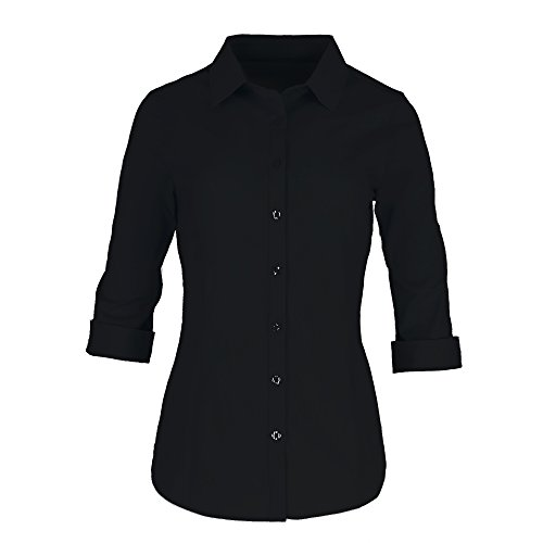 Pier 17 Button Down Shirts for Women by Tailored, 3/4 Sleeve Shirt with Stretch - Semi Fitted for Slim, Fit Look - 97% Cotton and 3% Spandex - Lightweight and Soft Materials (Medium, Black) Button Down Tailored Dress Shirt