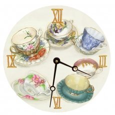 Lexington Studio Tea Cups Round Clock, -