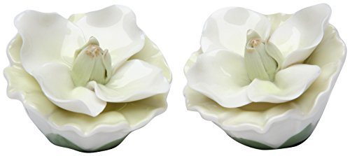 StealStreet SS-CG-20730, 2.5 Inch Painted White Layered Petals Gardenia Salt and Pepper Shakers