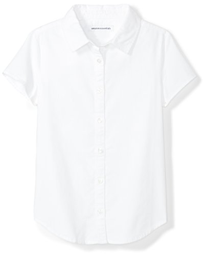Amazon Essentials Big Girls' Short Sleeve Uniform Oxford Shirt, White, M (8)