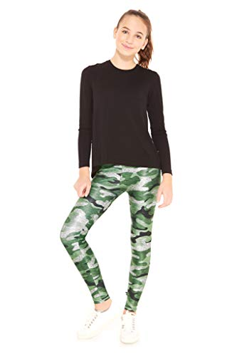 Terez Leggings for Girls and Boys  Glitter Camo Pants  Workout Clothes for Kids Green -
