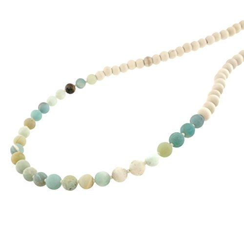 Amazonite Long Necklace (Matte Genuine GemStone With Wood Bead Long Necklace 36