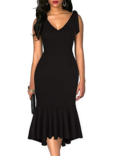 Drimmaks Women's Summer Sleevless Deep V Neck Tie Straps Shoulder Mermaid Trumpet Midi Wedding Guest Dress (025-Black, XL)