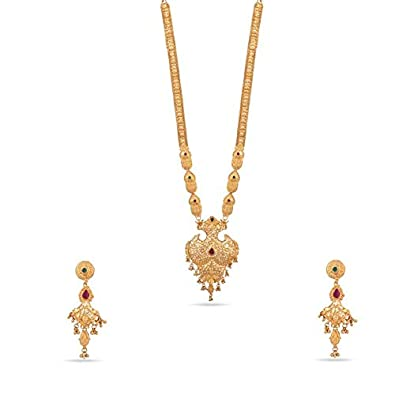 b4df990c87656 Buy Kalyani Covering 21K Gold Plated Long Necklace Set for Women and ...