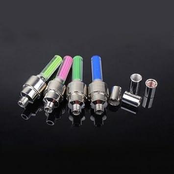 funciona con pilas universales con LED de 4 colores Tapones para v/álvula de rueda para bicicleta moto 2 unidades Sky Blue coche Stickerslab