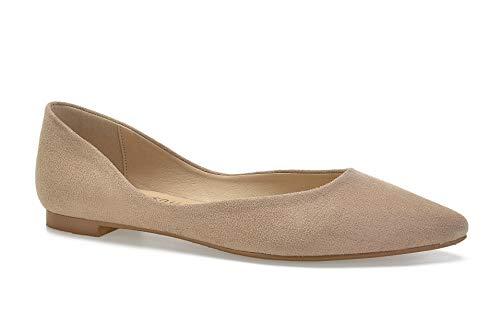 ComeShun Womens Shoes Pointed Toe Flat Comfort Dress Pumps (39 EU/8 US, Beige)
