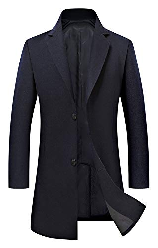 (Men's Trench Coat Wool Blend Slim Fit Jacket Single Breasted Business Top Coat 18635 Navy S)