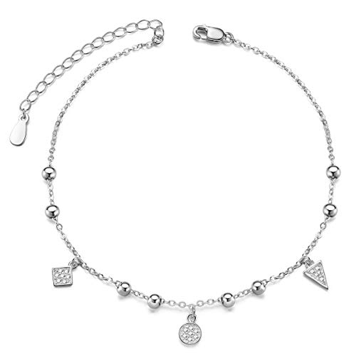 (SHEGRACE 925 Sterling Silver Triple Layered Chain Anklets/Bracelet with Tiny Beads for Casual (D2:Silver Anklet))
