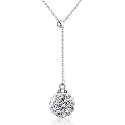 Beuu Fashion Women Gold and Silver Crystal Beads Pendant Necklace Long Chain Female Necklace Gold Plated Agate Bead Full Diamond Ball Decorated with Items (Type 3-Silver)