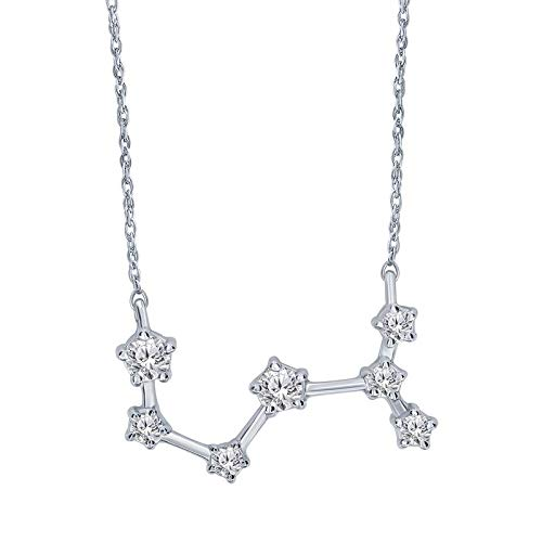 Triss Jewelry 1/5 Cttw Diamond Scorpio Zodiac Sign Pendant Necklace For Women in Sterling Silver