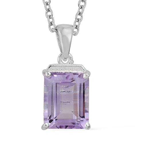 Shop LC Delivering Joy Rose De France Amethyst Pendant in 925 Sterling Silver with Magnetic Clasp Chain 20