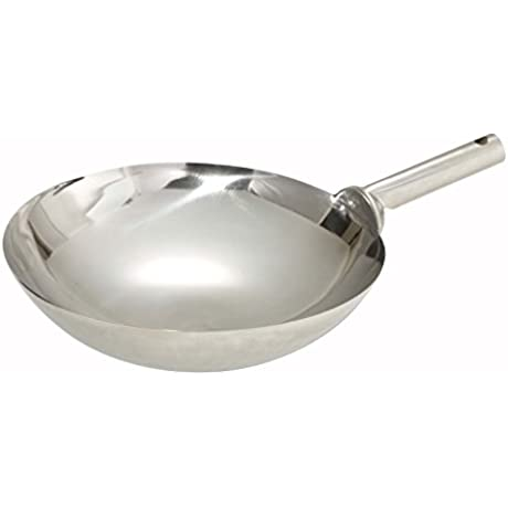 Winco WOK 14W Stainless Steel Welded Joint Wok 14 Inch