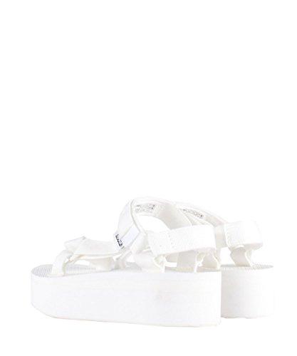 Teva W Flatform Universal White Sandals–Sandalias Blancas goma y lienzo blanco