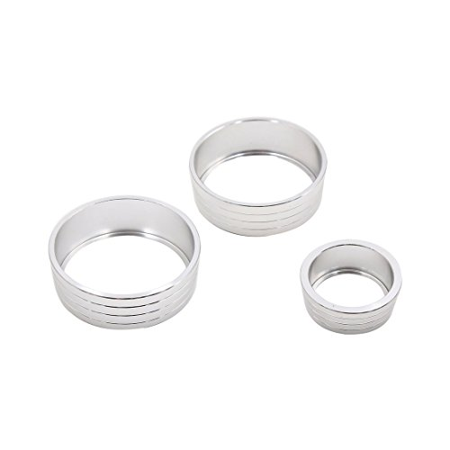 uxcell 3pcs Silver Tone Air Condition Audio Switch Decorative Ring Set for Honda City XRV by uxcell (Image #1)
