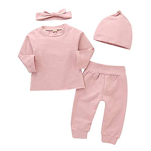 4Pcs Infant Baby Girls Pink Romper Long Sleeves Cotton Top+Pants+Headband+Hat Outfits Set 0-24M