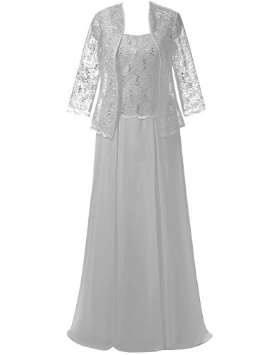 ModeC Lace Mother of The Bride Dress with Jacket Long Chiffon Formal Gowns Silver US2