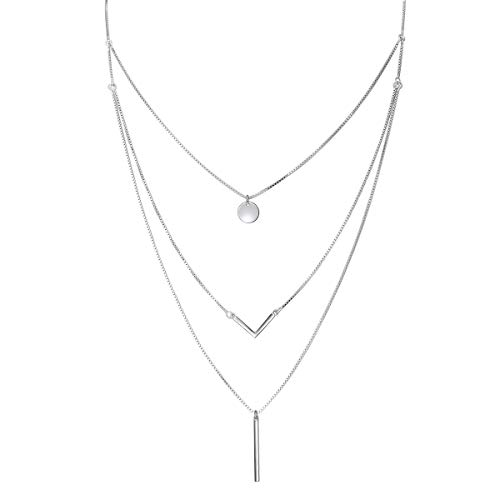 S925 Sterling Silver Triple Layer Pendant Choker Necklace for Women ()