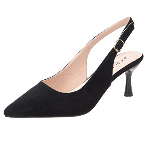 - Women's Elegant Slingback Stiletto Sandals Office Work Pointed Toe Ankle Strap Buckle Single Shoes High Heel Party Dress Shoes (Black, 5 M US)