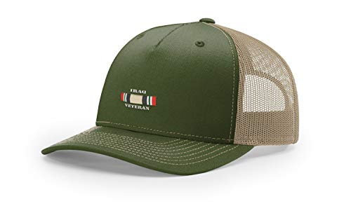 (USAMM Iraq Veteran Ribbon Division Embroidered Richardson Hat (112FP Olive/Tan Trucker))