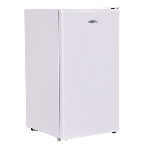 Costway Min Refrigerator Small Freezer Cooler Fridge,3.2 Cu Ft Unit, Stainless Steel,White