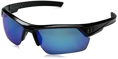 Under Armour Ua Igniter 2.0 Polarized Wrap Sunglasses, Black/ Blue, 62 mm by Under Armour