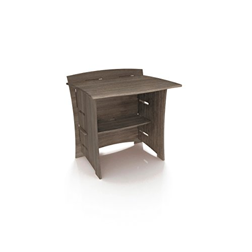 Legaré Furniture Desk Extension, No Tool Assembly with Adjustable Shelves, Grey Driftwood