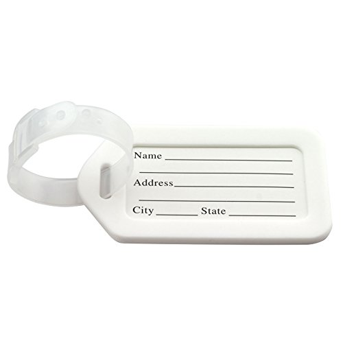 Transparent Luggage Tag - JCBIZ 10pcs Luggage ID Tags With Transparent Straps Travel Accessories Candy Color Plastic Baggage Label Suitcase Name Address Tags Card White