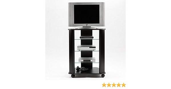 Miroytengo Mesa para TV con Ruedas y estantes de Cristal fijos ...