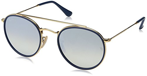 Ray-Ban RB3647N Round Double Bridge Sunglasses, Gold/Silver Gradient Flash, 51 ()