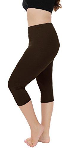 Capri Brown Apparel (A-Wintage Women's Plus Size Capri Leggings 3/4 Length Leggings Modal Comfortable Leggings)