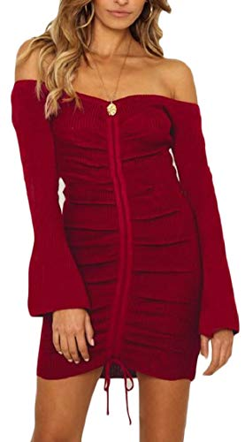 Red Sexy Mini Dress Shoulder Jaycargogo Womens Wine Bodycon Off Knit Ruched vwS5a0Sq