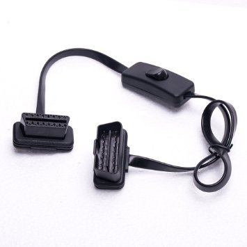 Eximtrade OBDII OBD2 16 Pin Male to 16 Pin Female Connector Converter Cable with Power Switch Button