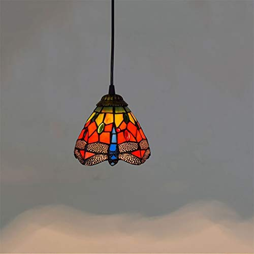 6 Inch Mini Pendant Lamp, Tiffany Style Red Dragonfly Stained Glass Lampshade Pendant Light 1-Light Ceiling Hanging Light Fixture for Corridor Aisle Cafe