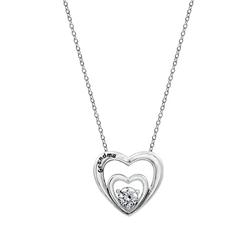 Diamonbliss Platinum Plated Sterling Silver 0.56 cttw Cubic Zirconia Engraved Word Necklace- Grandma (Cubic Zirconia Fashion 16' Necklace)