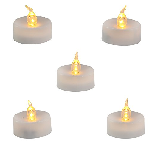 Homemory LED Flameless Fake Tea Light Candle, Amber Yellow Flickering Bulb, Pack of 12 Battery Operated Electric votive candle, Dia 1.4 Inch, Realistic and Bright effect for Party, Wedding (Votive Lights Battery Operated)