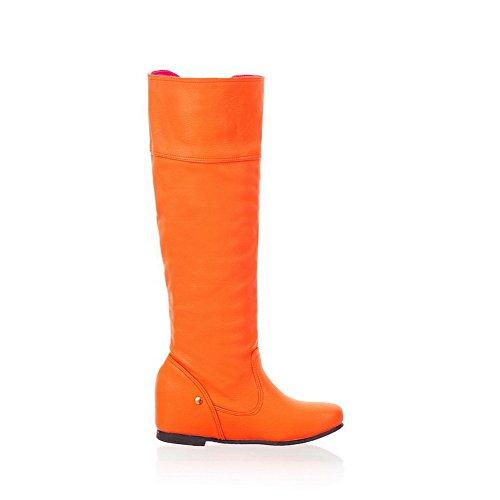Amoonyfashion Dames Gesloten Ronde Neus Lage Hakken Pu Korte Pluche Stevige Laarzen Met Verhoogde Binnenkant Oranje