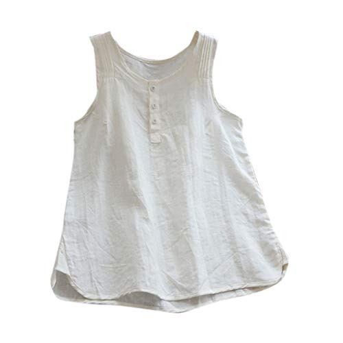 (Women's Sleeveless Linen Tank Top Button up Casual Blouse Tunic Solid Color Round Neck Soft Shirt Amiley (X-Large,)