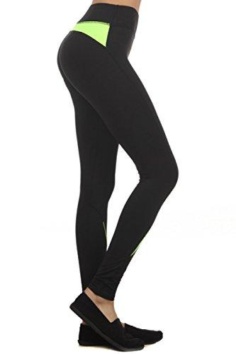 2LUV Women's Two-Tone Performance Yoga Leggings Neon Green S (SP2014111)