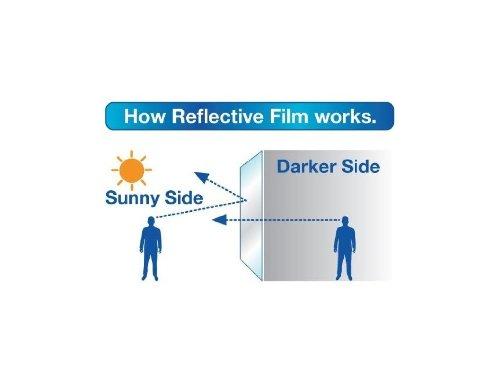 Solar Control /& Privacy Tint - One Way Mirror // Mirrored Glass Silver Reflective Window Film 76cm x 3 Metre