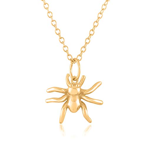 Sterling Silver 18K Yellow Gold Plated 3D Spider Pendant/Charm, with 18-Inch Chain - in Beautiful Polished Finish
