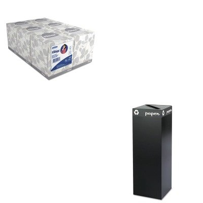KITKIM21271SAF2984BL - Value Kit - Safco Public Square Recycling Container (SAF2984BL) and KIMBERLY CLARK KLEENEX White Facial Tissue (KIM21271) by Safco