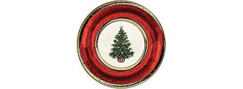 Amscan Classic Christmas Tree Metallic Plates, 8 Ct.