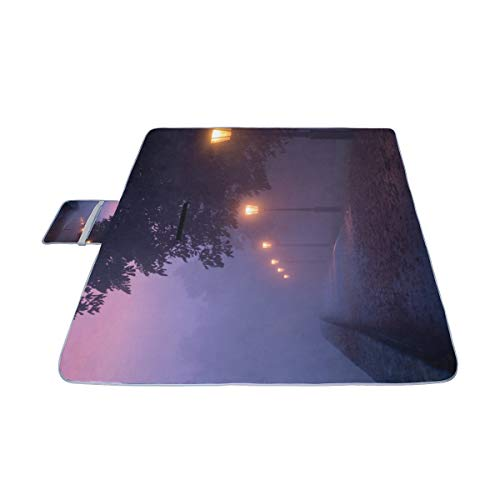 MBVFD Street Light Against Twilight Picnic Mat 57''(144cm) x79''(200cm) Picnic Blanket Beach Mat with Waterproof for Kids Picnic Beaches and Outdoor Folded Bag