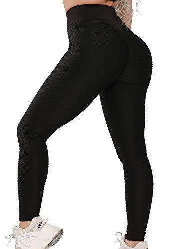 FITTOO Dames Scrunch Butt Leggings Honingraat Yoga Broek Booty Lifting Fitness Broek Push-Up Sportbroek Stretch Workout…