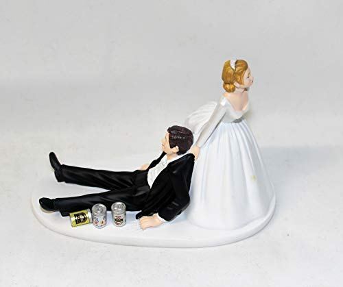 - Wedding Party Reception Beer cans Drunk Groom Cake Topper