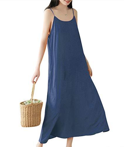 YESNO Women Casual Long Maxi Spaghetti Strap Slip Dress Loose Summer Sundress - Long Jumper Dress