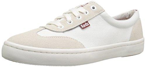 Keds Women's Tournament Retro Court Textile/Suede Fashion Sneaker, White, 8 M US