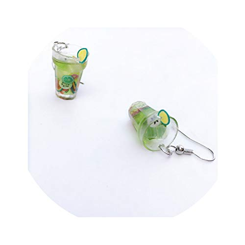 (JungKook Lovely Creative Funny Transparent Green Lemonade Drop Earrings Women Girls Personalized Fruit Juice Dangle Earrings Jewelry)